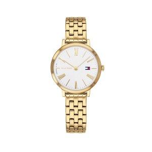 Tommy Hilfiger dameshorloge - Horloge met goudkleurige rvs band met witte wijzerplaat - Te koop bij Sparnaaij Juweliers in Aalsmeer