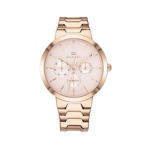 Tommy Hilfiger dameshorloge - Horloge met roségoudkleurige rvs band met roze wijzerplaat - Te koop bij Sparnaaij Juweliers in Aalsmeer