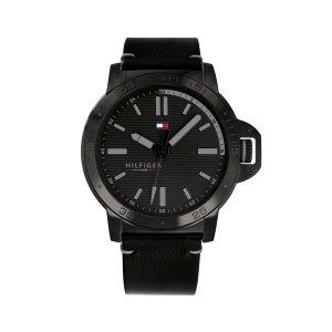 Tommy Hilfiger herenhorloge - Horloge met zwarte lerenband en zwarte wijzerplaat - Te koop bij Sparnaaij Juweliers in Aalsmeer