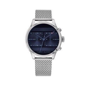 Tommy Hilfiger herenhorloge - Horloge met zilverkleurige band en donkerblauwe wijzerplaat - Te koop bij Sparnaaij Juweliers in Aalsmeer