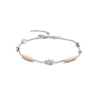 Zilveren armband van Ti Sento met roségoudvergulde staafjes en ster met zirkonia - Te koop bij Sparnaaij Juweliers in Aalsmeer en Hoofddorp