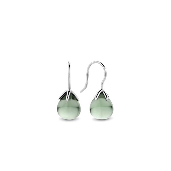 Zilveren flowerbud oorhangers van Ti Sento met diepgroene steen - Te koop bij Sparnaaij Juweliers in Aalsmeer en Hoofddorp