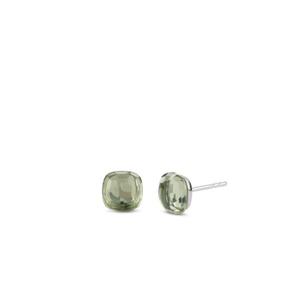 oorknoppen van Ti Sento met groene steen - Te koop bij Sparnaaij Juweliers in Aalsmeer en Hoofddorp