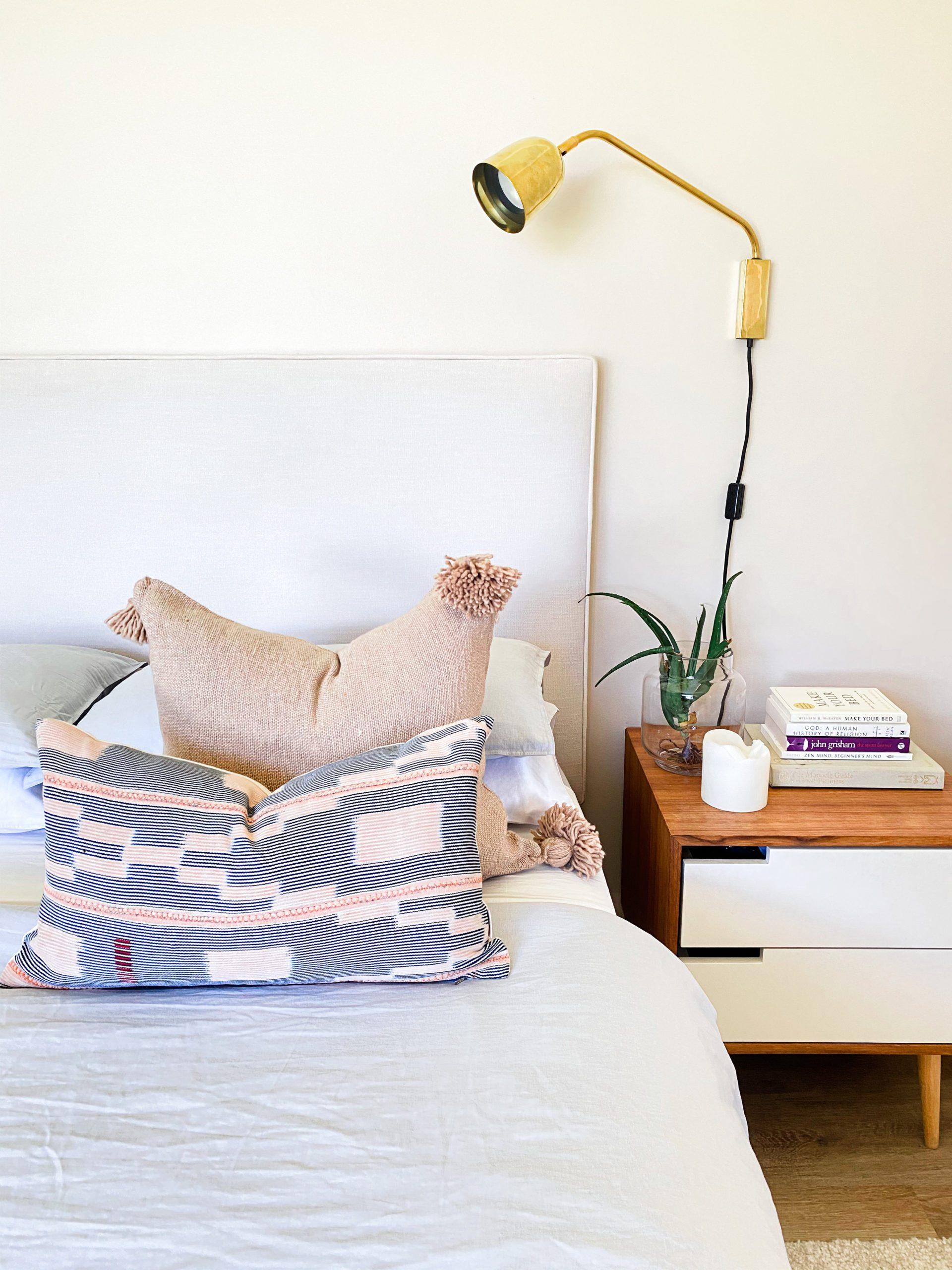 Baule pillow mudcloth throw pillow indigo Spases Moroccan Pom Pom pillow
