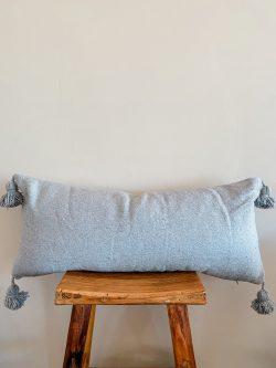 Moroccan Pom Pom pillow grey