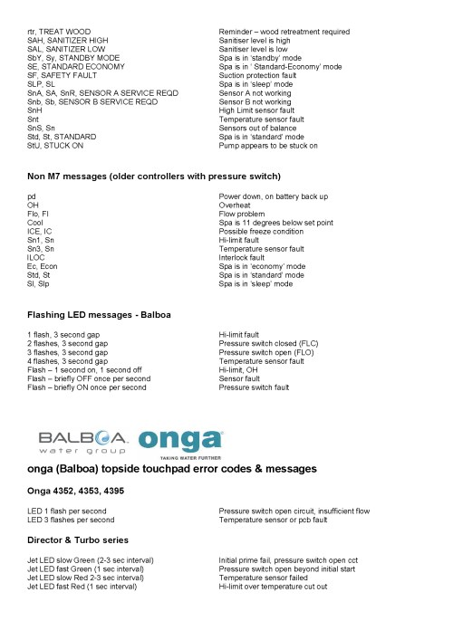 small resolution of spa topside panel error fault codes balboa water group onga