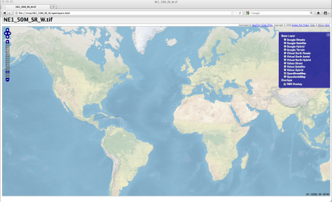 OpenLayers mapping application showing natural earth dataset