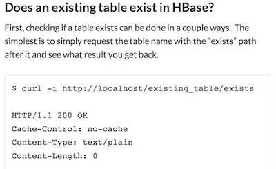 Screenshot of HBase REST query examples