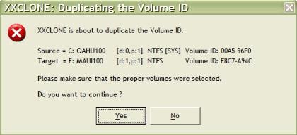 XXClone Duplicate Volume ID