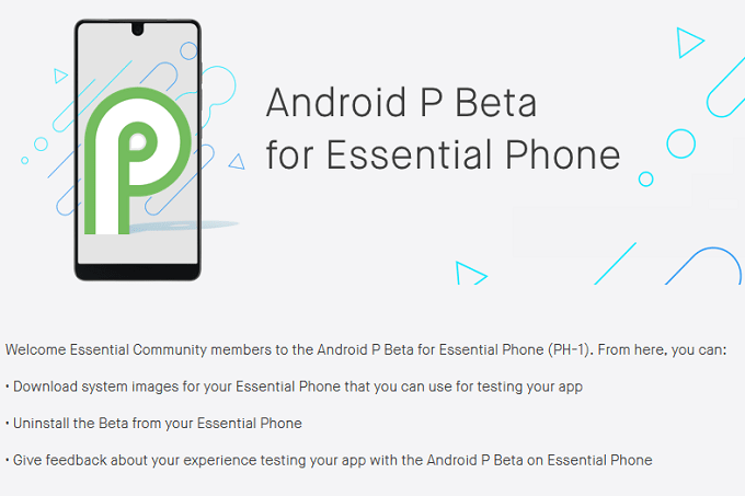 Programma Beta Essential Phone