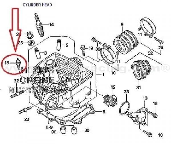 Sensor de temperatura Honda TRX450 ER 06-09, TRX500 FA