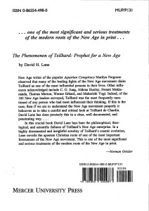 David Lane Wellington NZ Author of The Phenomenon of Teilhard Book back cover JPEG