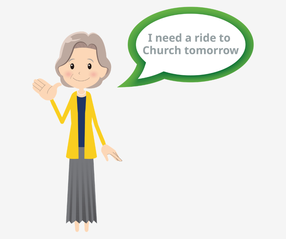 Senior asking to go to church through activity monitoring feature.