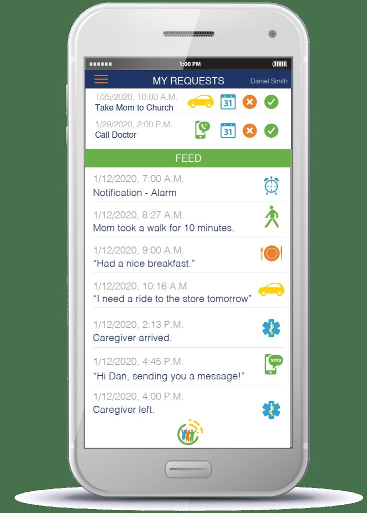 speak2 family app for seniors living alone on mobile device.