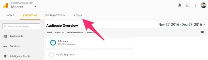 Google Analytics Click Admin Tab