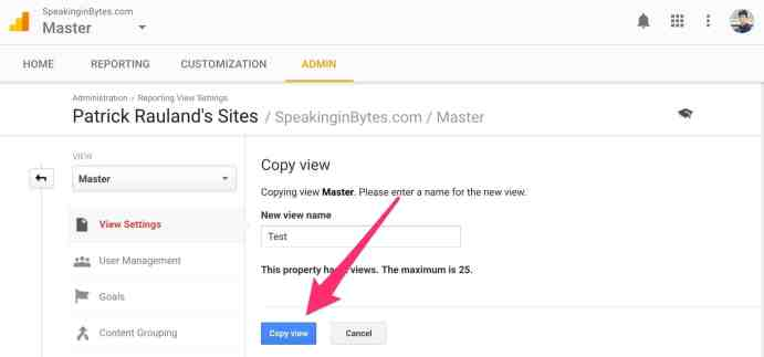 Google Analytics Copy View