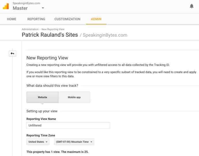 Google Analytics Create New Vew