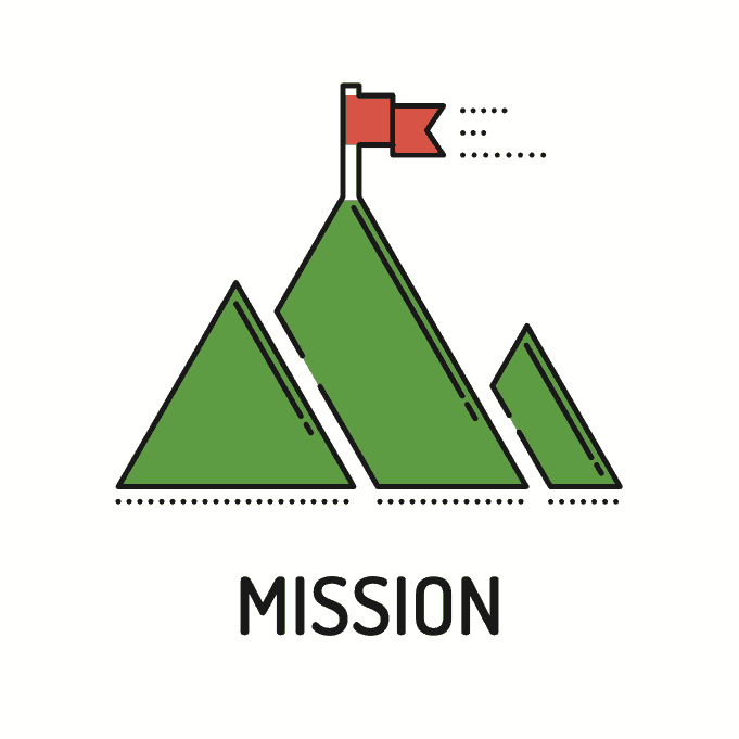mountain peak with flag - mission