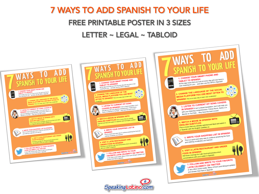 7 Ways to Add Spanish to Your Life FREE PRINTABLE POSTER