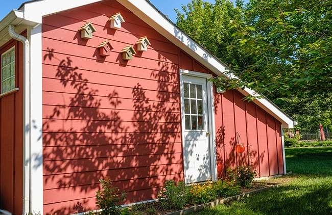 Red Hardi Plank Siding on Side of Barn Shed