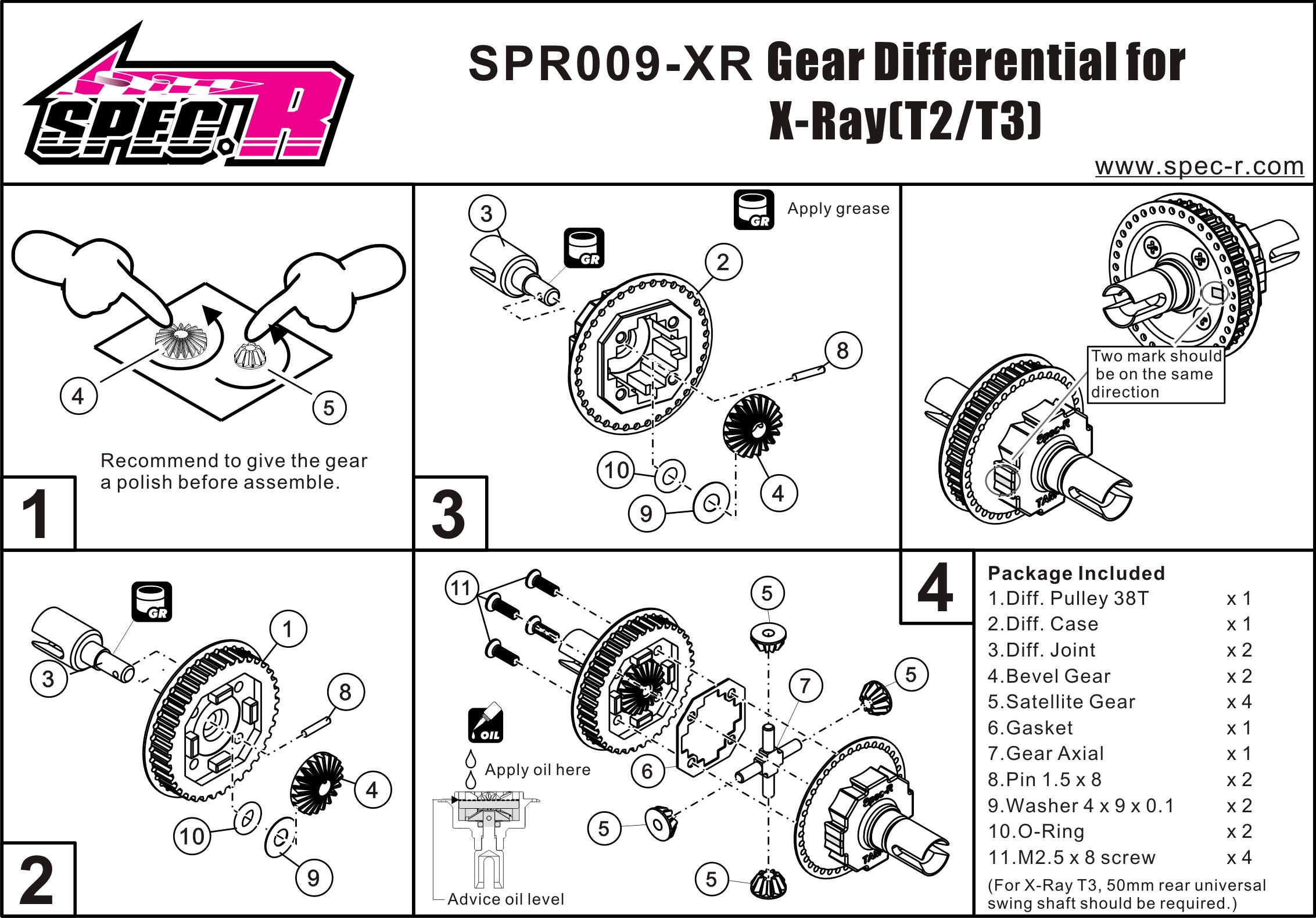 Gear Differential Set 38T(For X-Ray T2/T3) 7075Alu