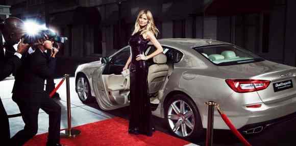 Heidi Klum et la Maseratti Quattroporte foulent le tapis rouge