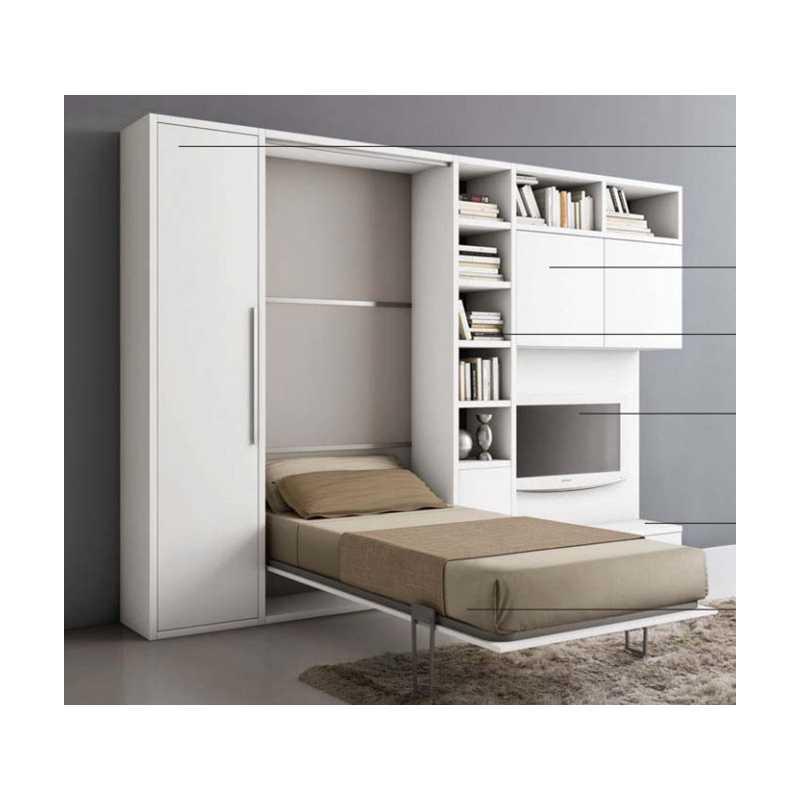 Letto a ribalta orizzontale con mobile sala