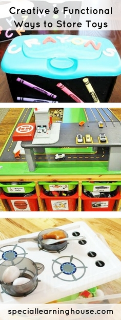 Creative and functional ways to store toys. Help your autistic child play and communicate more and help with clean up! | speciallearninghouse.com