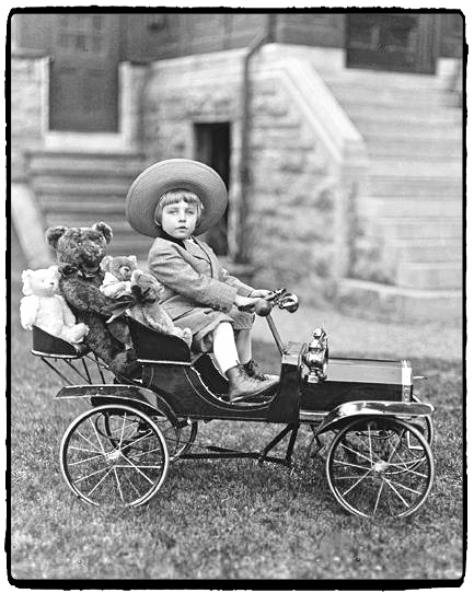 Antique children's play car. Discover 5 vintage toys and their modern-day equivalents!