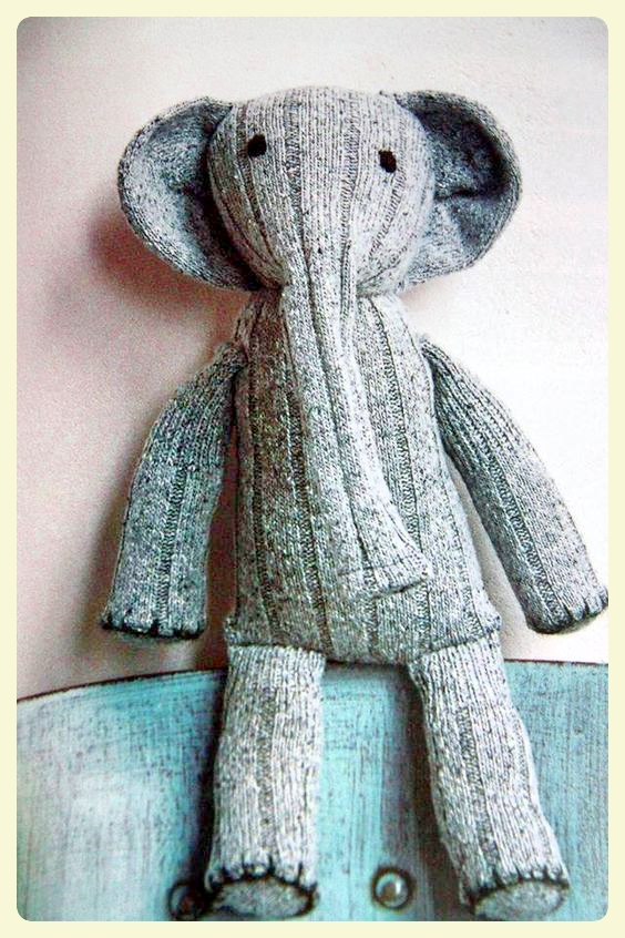 Elephant sock puppet. Featured by Special Learning House. www.speciallearninghouse.com