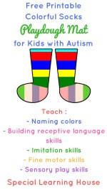 Free Printable Colorful Socks Playdough Mat for Kids with Autism and Other Special Needs.   speciallearninghouse.com