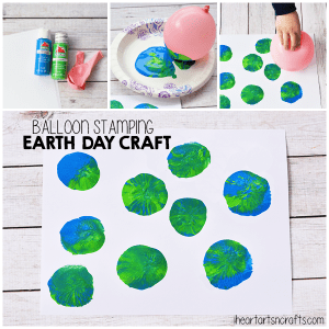 Balloon Stamping for Earth Day autism #autismawareness #speciallearninghouse #earthday #finemotor