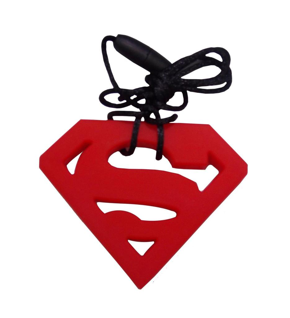 Superman chew necklace for kids with autism in the shape of a large red S