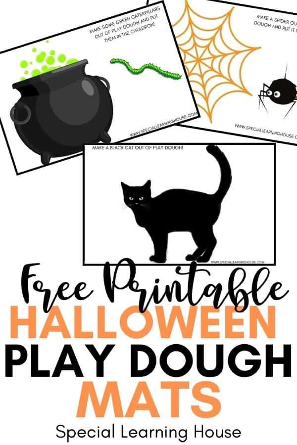 3 Halloween play dough mats (a black cat, a spiderweb & a witch's cauldron)