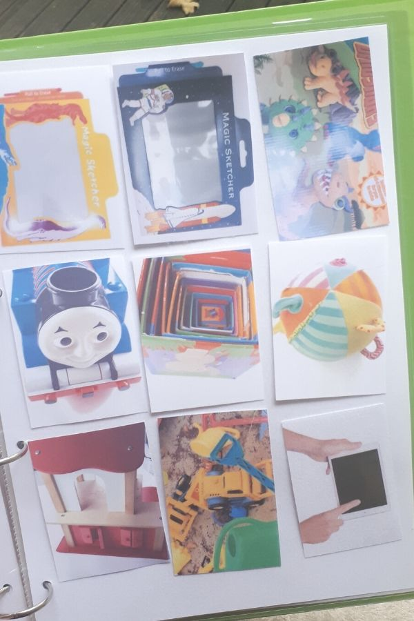 lots of small photos that are visual aids in the communication binder for kids with autism