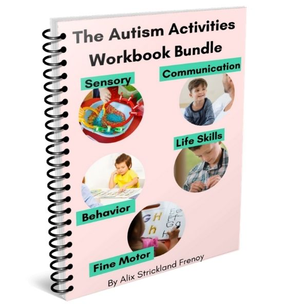 Autism workbooks with children on the cover to build communication, sensory play, fine motor, behavior and life skills