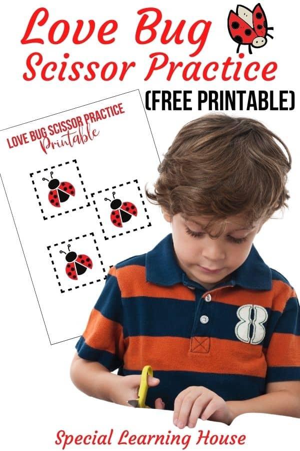 Love Bug Printable Scissor Practice