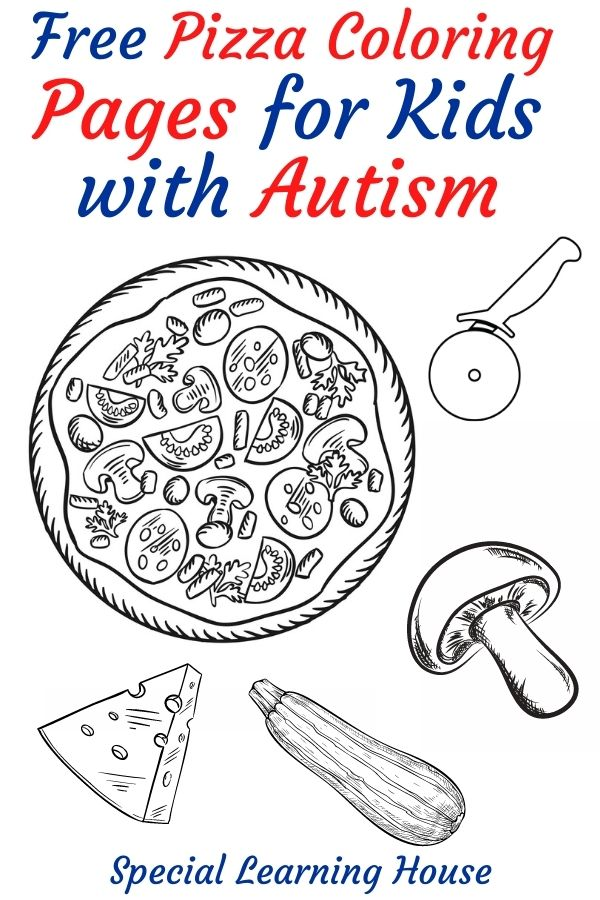Pizza Coloring Pages for Kids with Autism 2