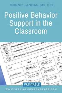Positive Behavior Support in the Classroom Printable