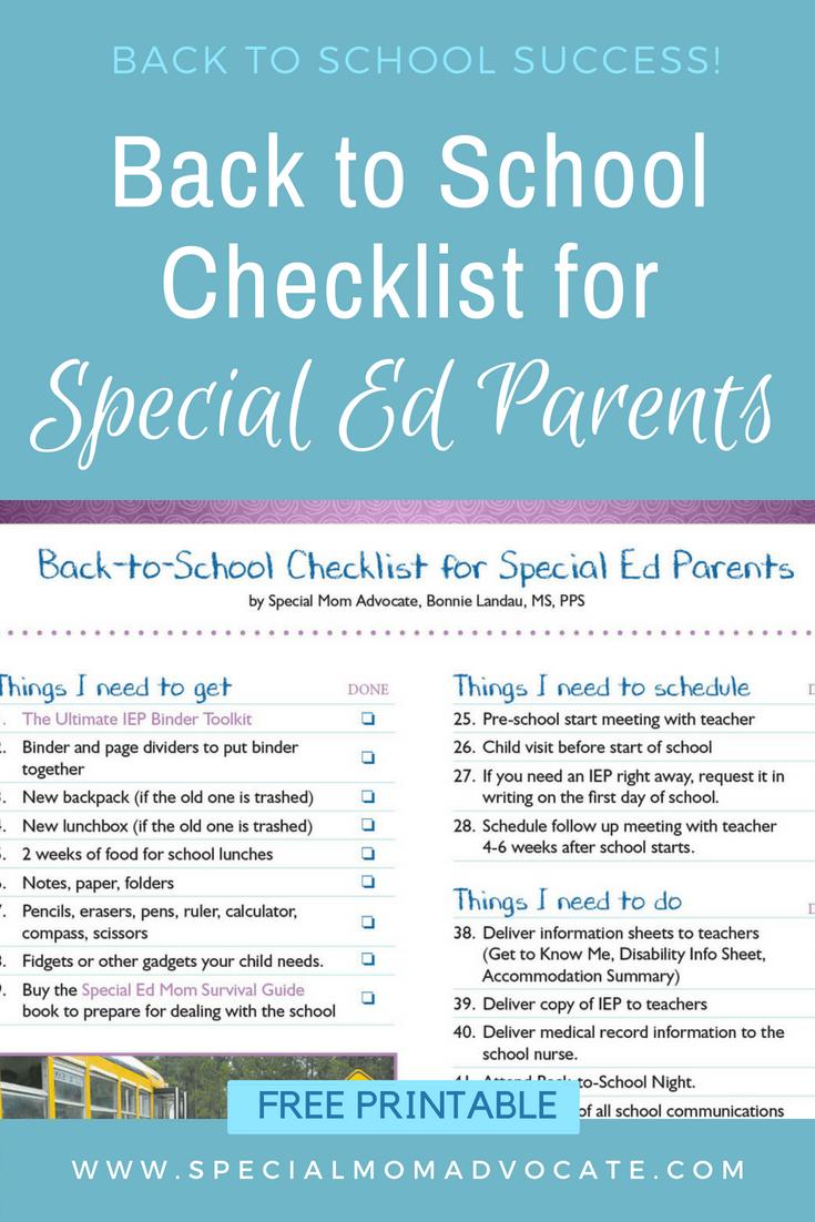 back to school checklist for special ed parents bonnie landau