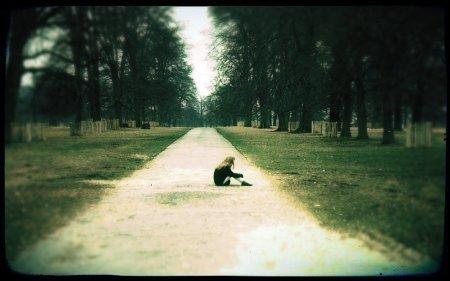 girl sitting in park