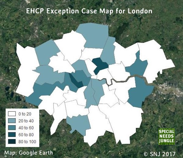EHCP Exception Case Map for London