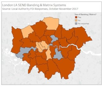 London boroughs showing all areas use banding but Harrow, Enfield, Kenstn & Chelsea, Hammersmth & Fulham, Westminster, Lambeth. No response from Hounslow, Lewisham, Hackney, City of London