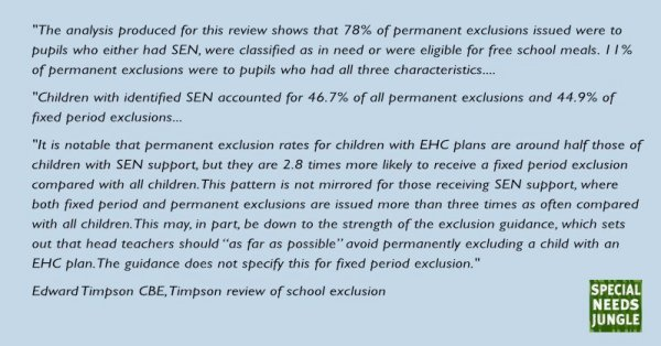 """The analysis produced for this review shows that 78% of permanent exclusions issued were to pupils who either had SEN, were classified as in need21 or were eligible for free school meals. 11% of permanent exclusions were to pupils who had all three characteristics.   children with identified SEN accounted for 46.7% of all permanent exclusions and 44.9% of fixed period exclusions.56 It is notable that permanent exclusion rates for children with EHC plans are around half those of children with SEN support,  but they are 2.8 times more likely to receive a fixed period exclusion compared with all children. This pattern is not mirrored for those receiving SEN support, where both fixed period and permanent exclusions are issued more than 3 times as often compared with all children. This may, in part, be down to the strength of the exclusion guidance, which sets out that head teachers should """"as far as possible"""" avoid permanently excluding a child with an EHC plan. The guidance does not specify this for fixed period exclusion."""