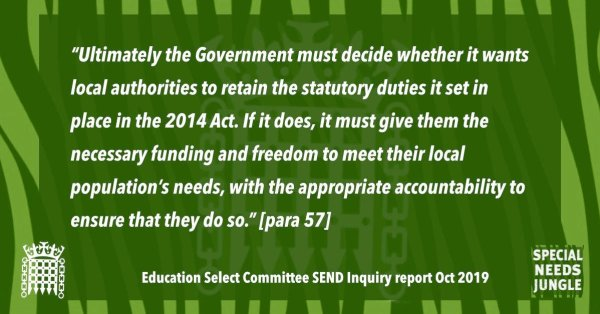 """""""Ultimately the Government must decide whether it wants local authorities to retain the statutory duties it set in place in the 2014 Act. If it does, it must give them the necessary funding and freedom to meet their local population's needs, with the appropriate accountability to ensure that they do so."""" [para 57]"""