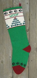 22 inch Wool Knit Dog Christmas Stocking