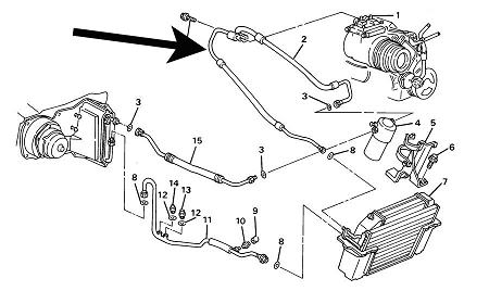 Air Conditioning Compressor Hose,C4 Corvette,1989,5.7L
