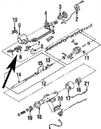 Steering Column Wiper Switch/Pivot,Harness,C4 Corvette,1990-93
