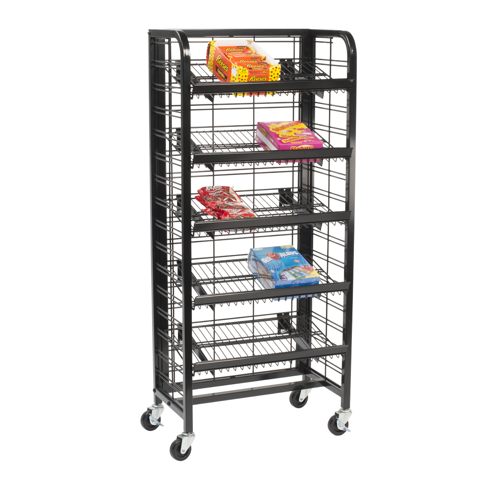 snack display rack with 5 shelves