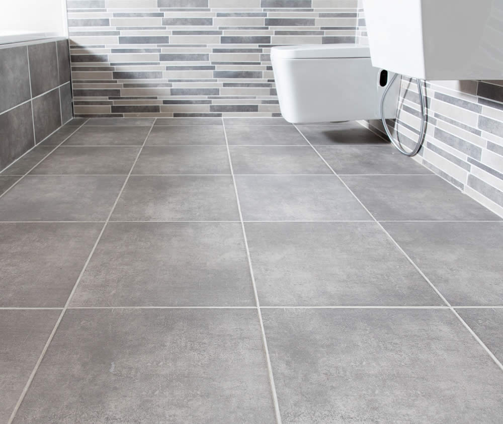 Concrete look tiles from Johnson Tiles for an industrial
